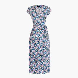 JCrew Midi wrap dress soft rayon pink-blue floral